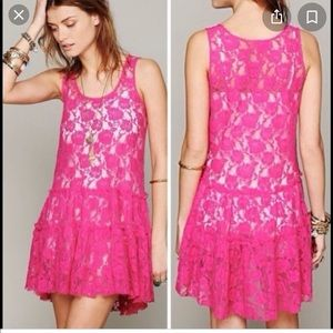 FREE PEOPLE EMILY LACE MINI DRESS in PINK LARGE